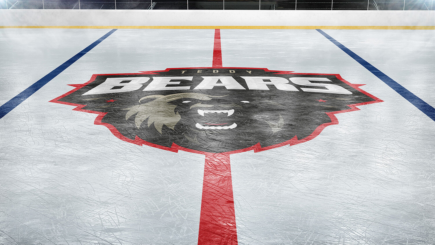 ice hockey rink photoshop logo mockup
