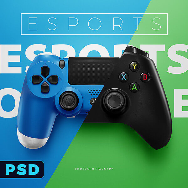 Esports ps4 xbox controllers mockup templates sports - Xbox one wallpaper template ...