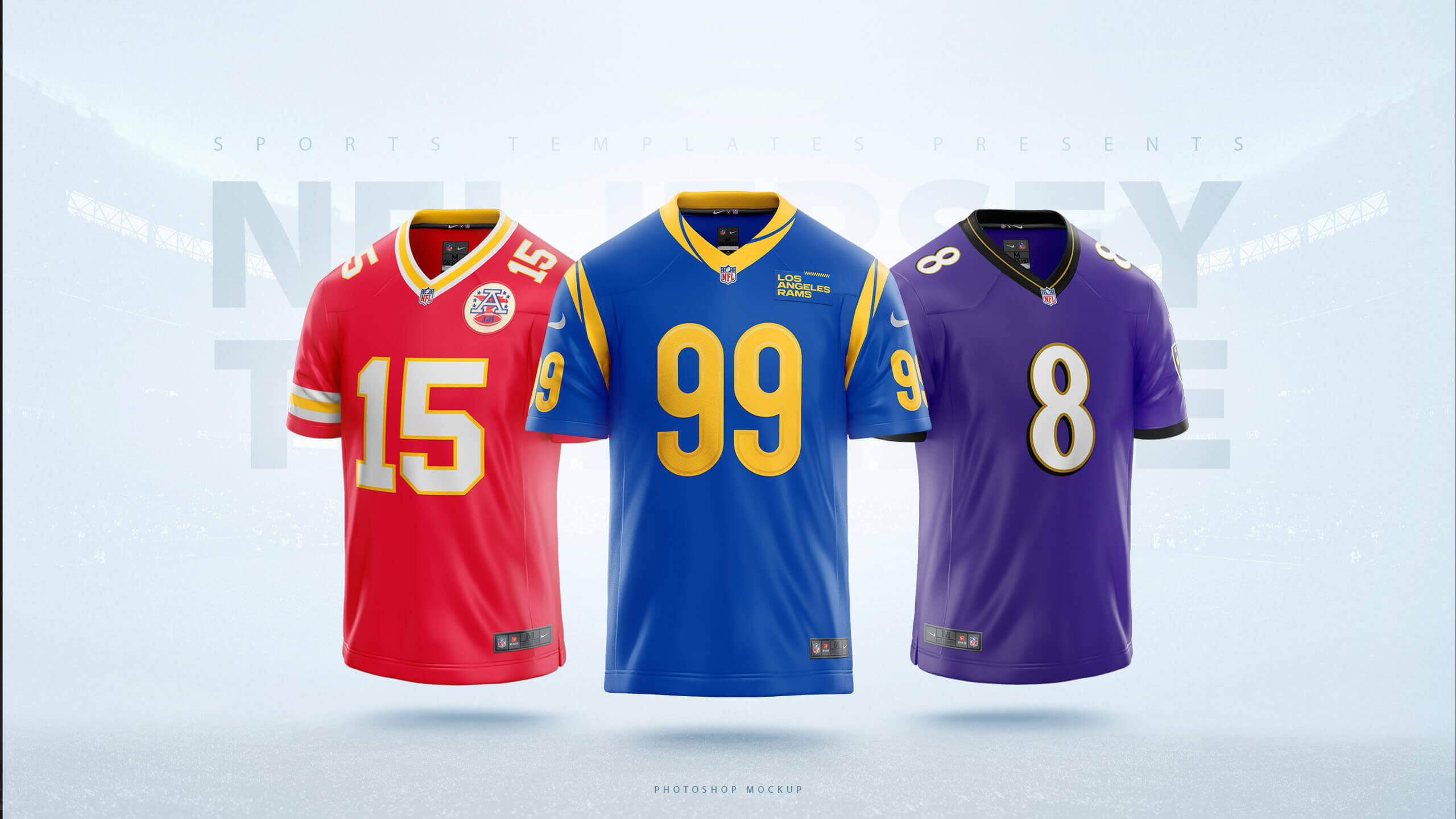 NFL football jersey PSD template