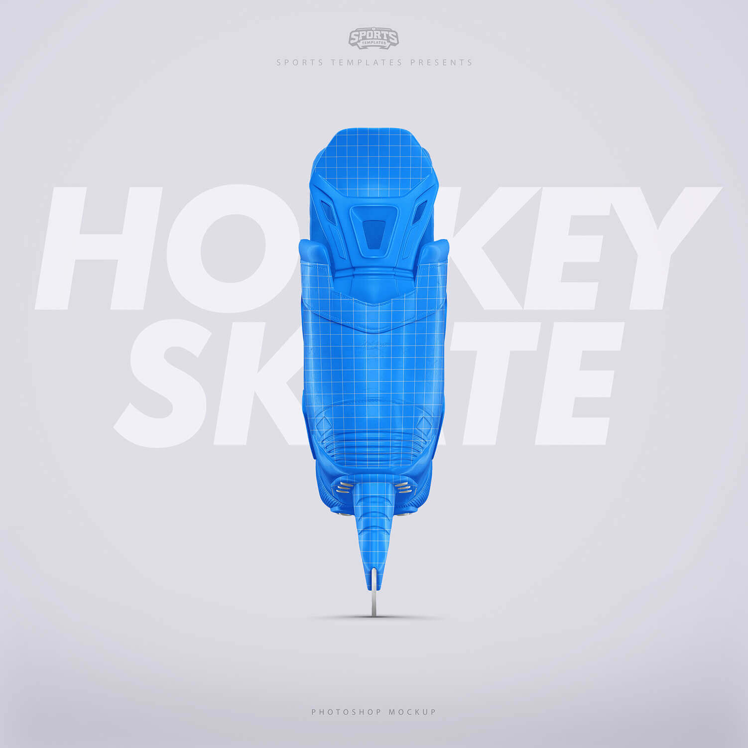 Ice Hockey skate Photoshop template Back view