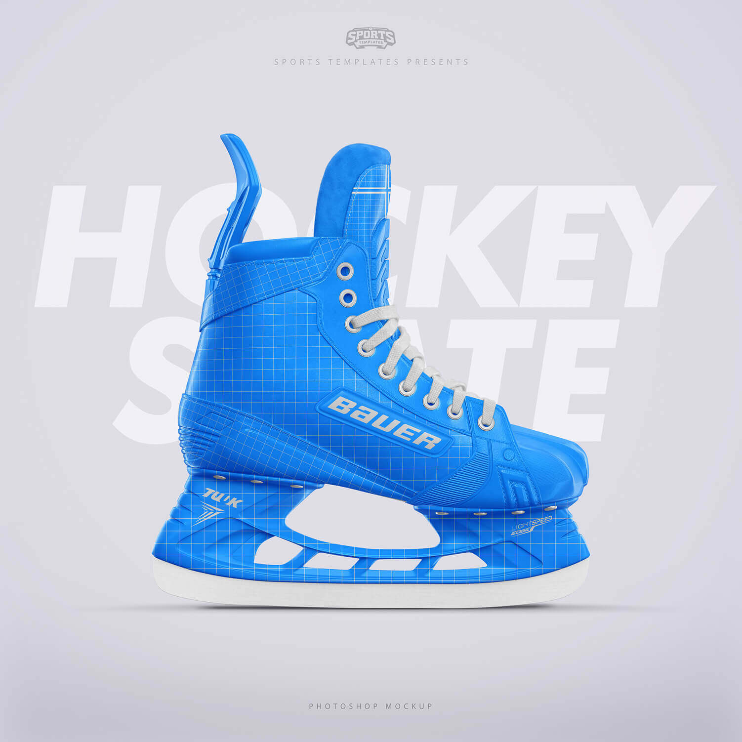 Ice Hockey skate Photoshop template Side view